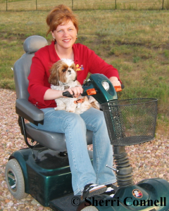 Sherri Connell and Snickers on Scooter - Her Testimony - Just as I am